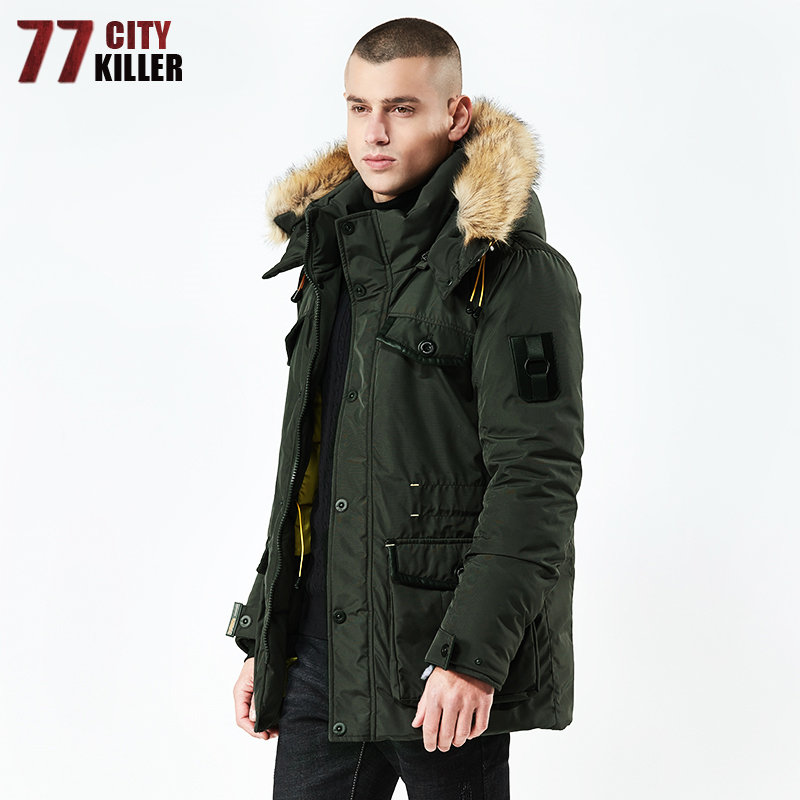 77City Killer Autumn Winter  Fur collar Parka Men Casual Slim Fit Hood Winter Jackets Mens Coat Cotton Windbreak Outwear 8824