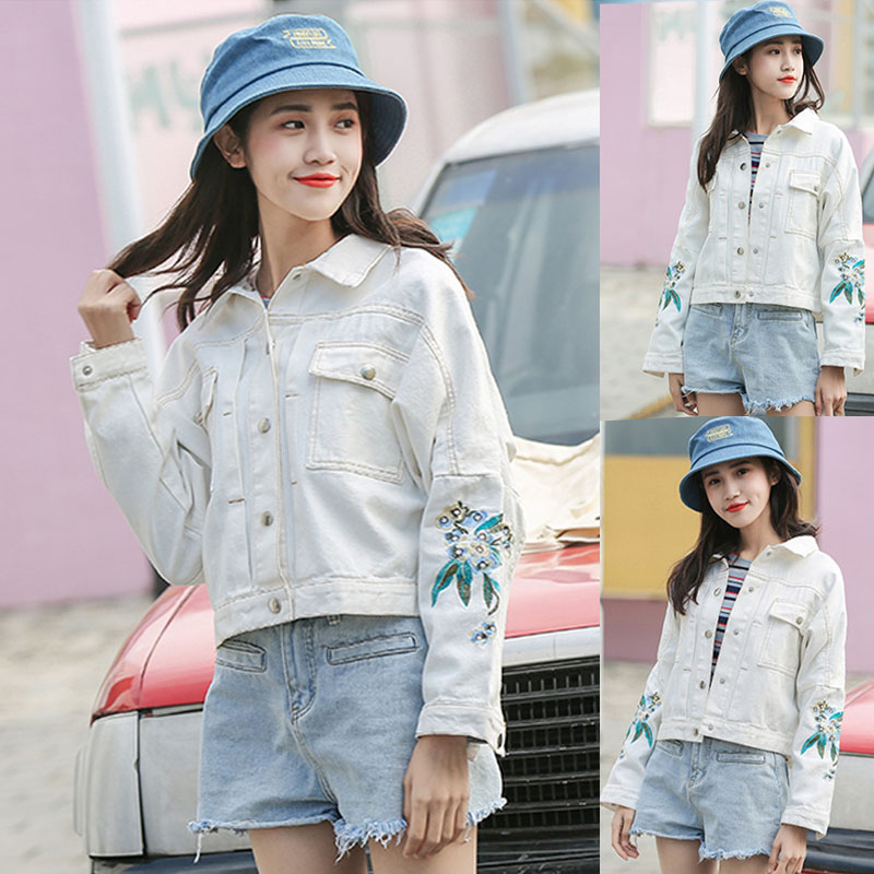 Denim Broderie Rose Blanc Veste Floral D'hiver Casual Harajuku YWIEDH29