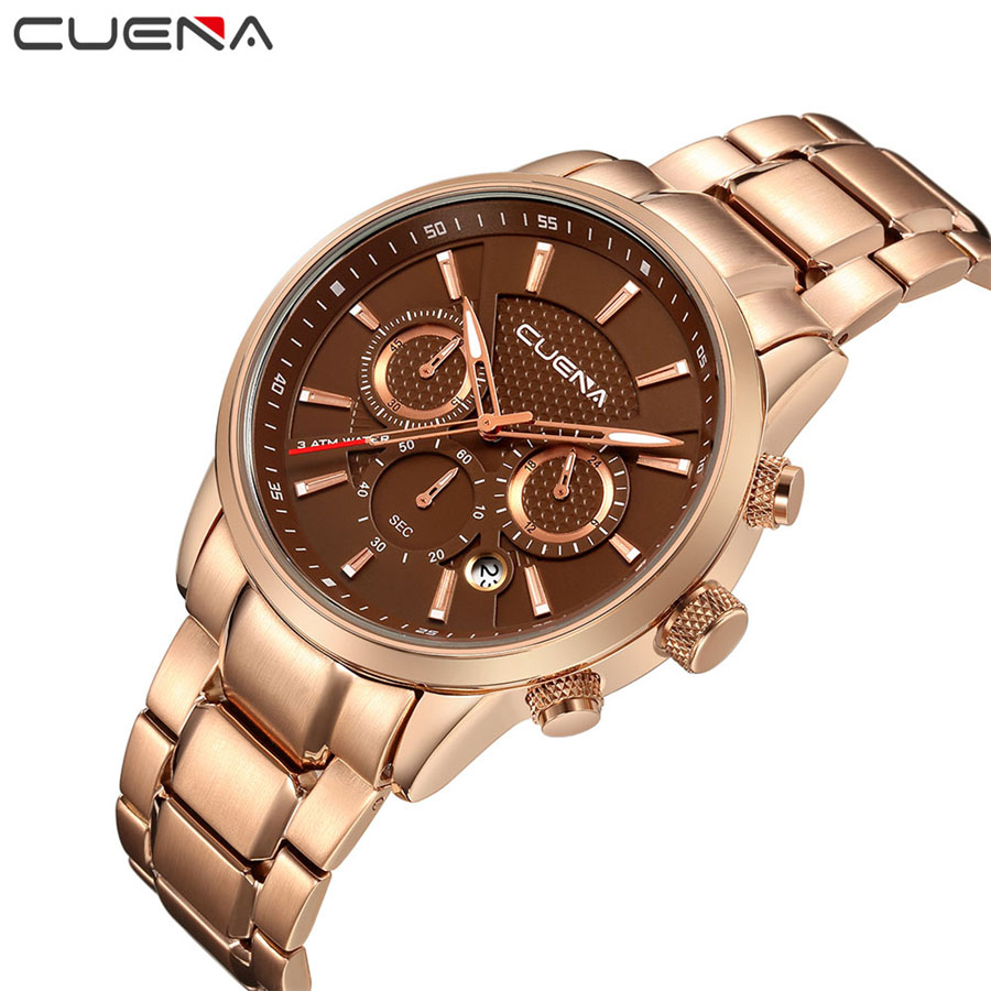 CUENA Brand Fashion Men's Full stainless steel Military Sport Watch waterproof relogio masculino quartz Wristwatch male watches weide popular brand new fashion digital led watch men waterproof sport watches man white dial stainless steel relogio masculino