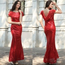 Spring/summer 2017 High Quality Elegant Woman Sequins Sexy Dress Gold Red High-end Package Shoulder Backless Fishtail Dress