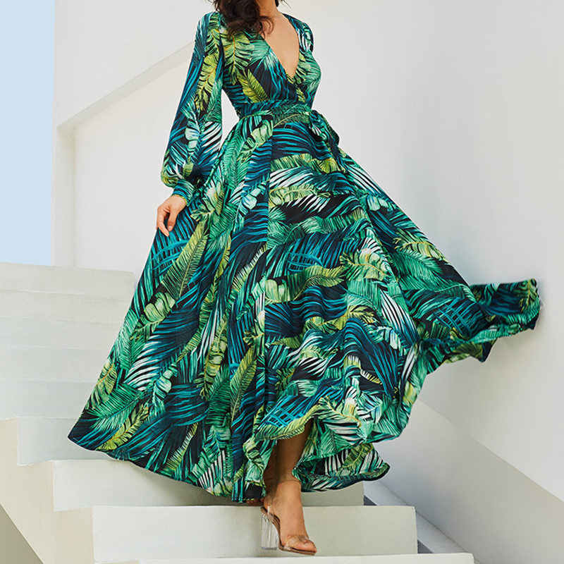 507fe5dde New Arrival Summer Spring V-neck Leaf Print Maxi Dress Long Sleeve Casual  Ankle-