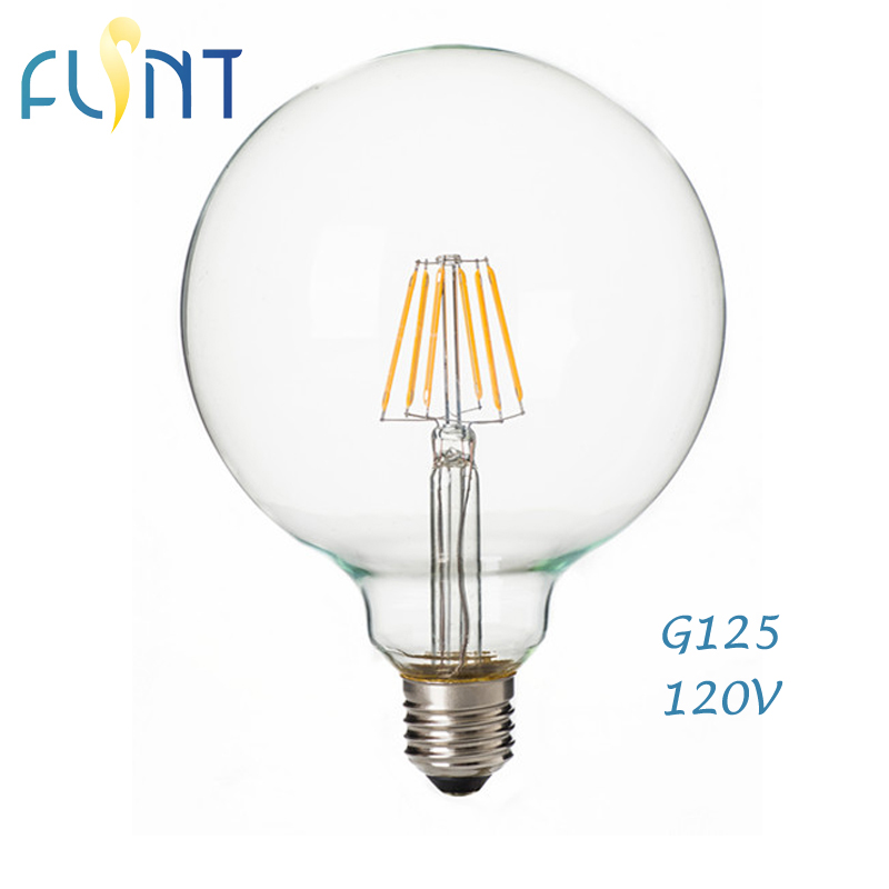 Dimmable E27 led bulb edison bulb 4w 7w 120V Retro 360 degree glass big led Filament G125/G40 ...