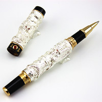 High Quality JINHAO Brand Silver Double Dragon Embossment Metal Roller Ball Pen Logo Stationery Office Supplies