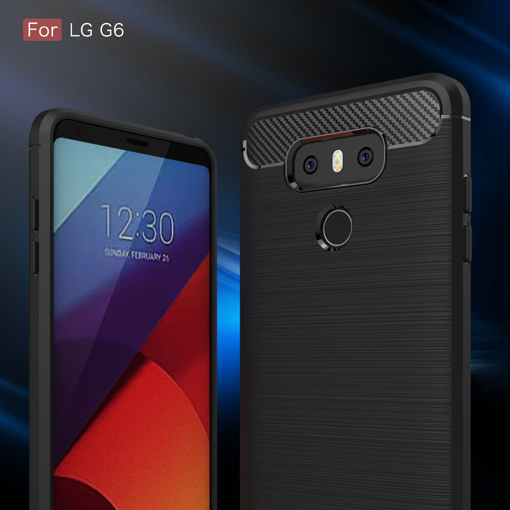 For LG G6 Case Silicon Case For LG G6 LG G7 Q6 Cover Soft TPU Carbon Fiber Brushed Mobile Phone Funda Coque Etui Accessory