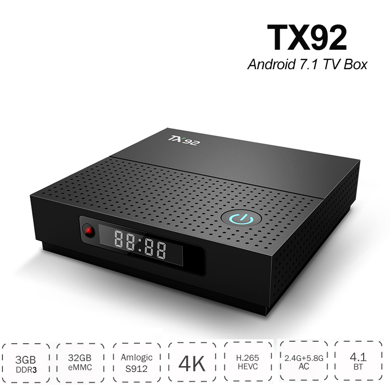 3GB RAM 32GB ROM Smart TV Box with LED Display Android 7.1 Amlogic S912 Octa Core TX92 Bluetooth 4K Streaming Media Player TVbox цена