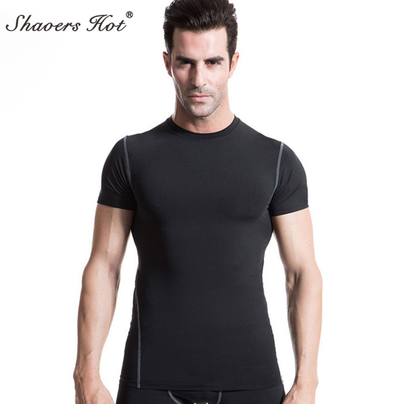 Quick Dry Compression Mens Short Sleeve T-Shirts Running Shirt Fitness Tight Tennis Soccer Jersey Gym Demix Sportswear 6 colour ...