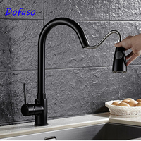 Dofaso Kitchen Faucets Brass Black Pull Out Mixer Tap 2 Way Function Water Faucet Pull Down