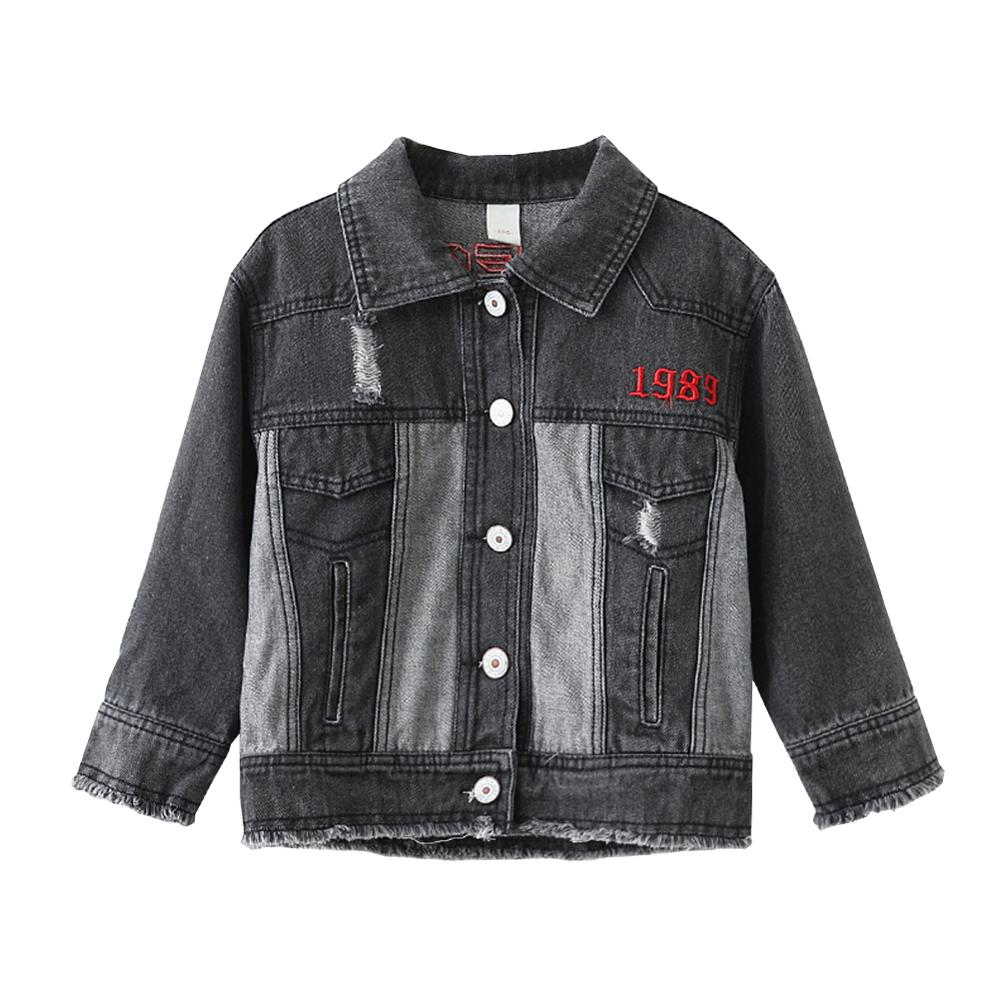 Girls Denim Coat Children's Jacket For Girls Letter Print Pattern Cotton Teenager Outerwear Kids Clothes