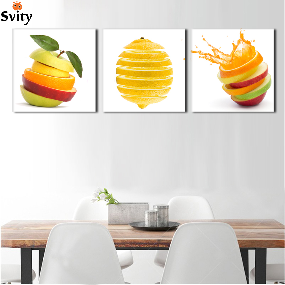 3 Pieces Kitchen Wall Pictures Fruit Painting Print On Canvas Green Apple And Oranges Cuts Modern