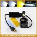 Universal Moto Moto H4 Hi/Lo Feixe com MKR LED Frente Farol 3000 K amarelo dourado Lâmpada do farol da motocicleta lâmpada