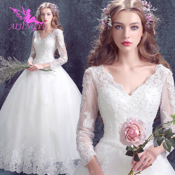AIJINGYU 2018 Wholesale Free Shipping New Hot Selling Cheap Ball Gown Lace Up Back Formal Bride Dresses Wedding Dress TJ154