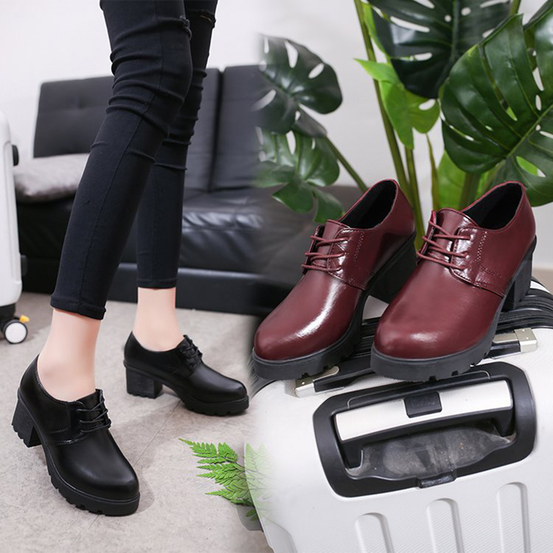 Office Lady Student Shoes College Students Shoes Uniform Shoes PU Leather High-heeled Shoes