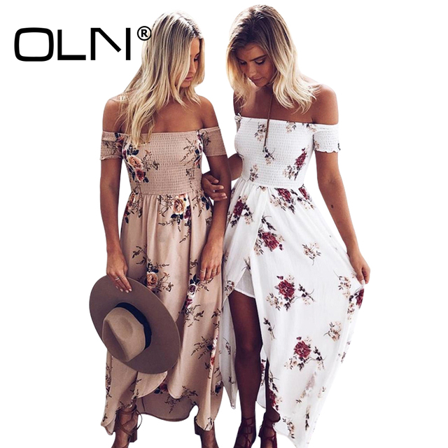 Oln 7 Color Boho Maxi Dress Plus Size 5xl Long Summer Dress Beach