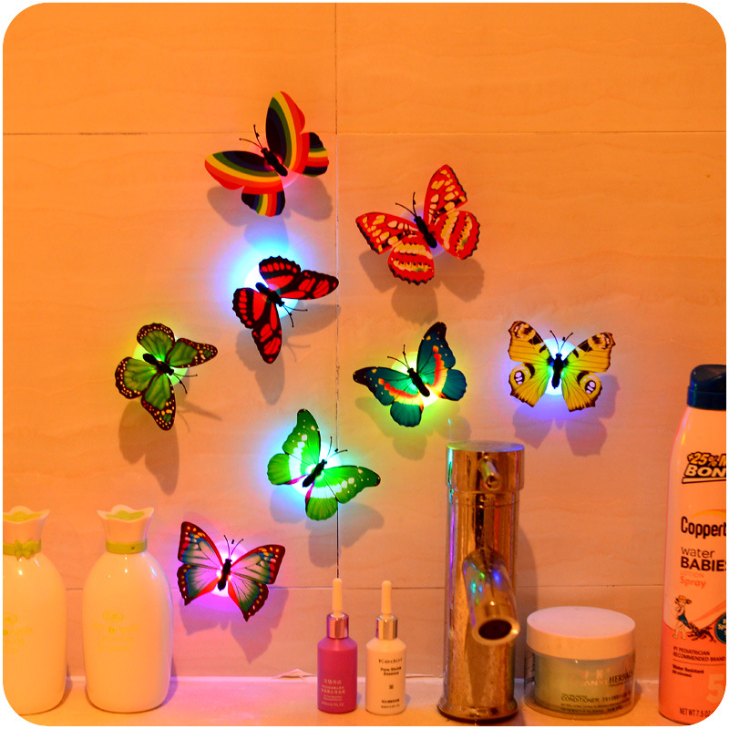 5pcs/lot butterfly led cotillon fluorecentes luminous night home party decoration LED decorative glow props led butterfly lights