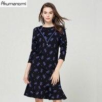 Autumn Cats Print Dress Women Clothing O neck Full Sleeve Ruffles Hem Lace Pearl Spring Dress Plus Size 5xl 4xl 3xl 2xl Xl L M