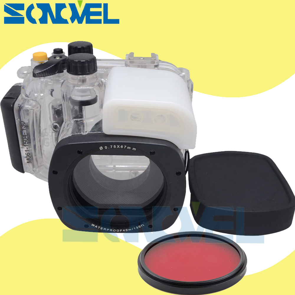 Meikon 40m 130ft Waterproof Underwater Diving Case Camera Housing Case For Canon PowerShot G16 as WP-DC52 With 67mm Red filter in stock meikon underwater diving camera waterproof housing case for canon g15 as wp dc48