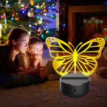 цены Acrylic butterfly LED 3D Night Lights Creative Ambient Light Desk Lamp Home Lighting Bulbing Color Change Luminaria Kids Gifts