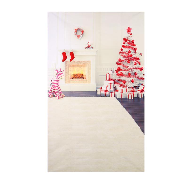 3X5FT Merry Christmas Tree Fireplace Backdrop Vinyl Photography Photo Background цена и фото