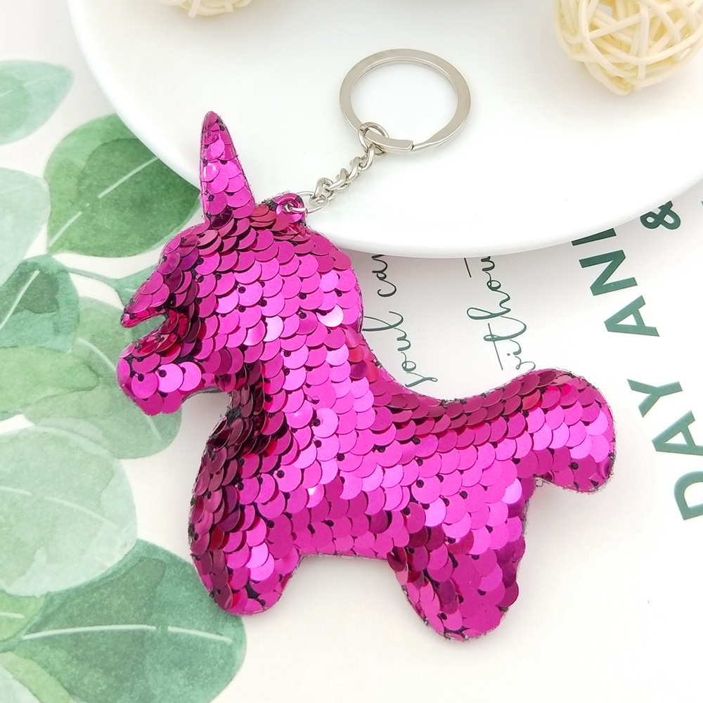 9 9.5CM Novelty Glitter Unicorn Keychain Pendant Color Sequins Animal Horse  Car Key Ring Charms Keychain Bag Jewelry Accessories-in Key Chains from  Jewelry ... 283a712b2fe8