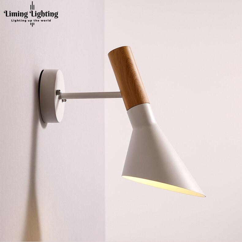 Livraison gratuite réplique moderne Vintage Arne Jacobsen bois comme les appliques murales Creative AJ fer applique murale moderne applique lumière