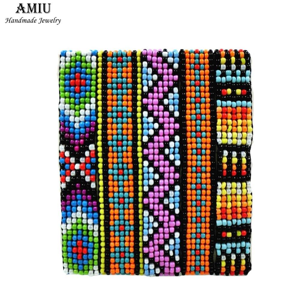 AMIU Barátság Kézzel készített karkötő Hippy 7row Seed Beads karkötő brazil kötél húr gyöngyök ékszerek készítéséhez nőknek