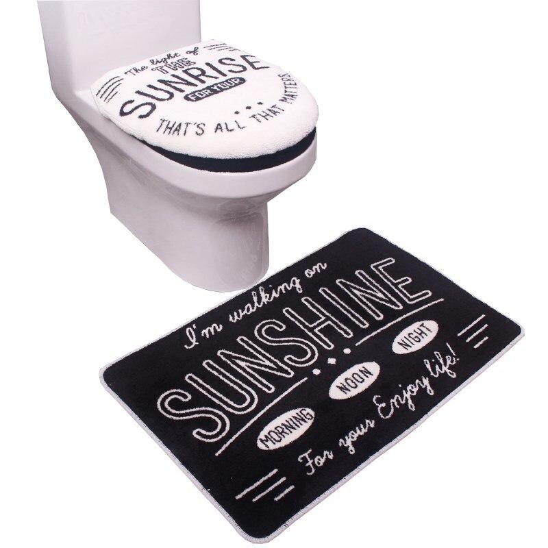 Admirable Us 32 88 Bathroom Set Black White Letters Toilet Set Wc Seat Cover Bath Mat Holder Closestool Lid Cover 3Pcs Set Toilet Seat Cushion Sets In Toilet Machost Co Dining Chair Design Ideas Machostcouk