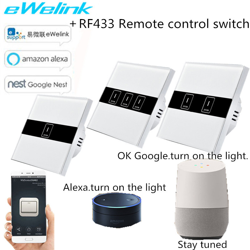 EU/UK Standard Wifi Control Switch,eWelink APP Control Light Switch via Android and IOS for RF433 Smart Home touch switch kerui smart socket eu us uk au standard wifi ios android app control intelligent for home security alarm system outlet switch
