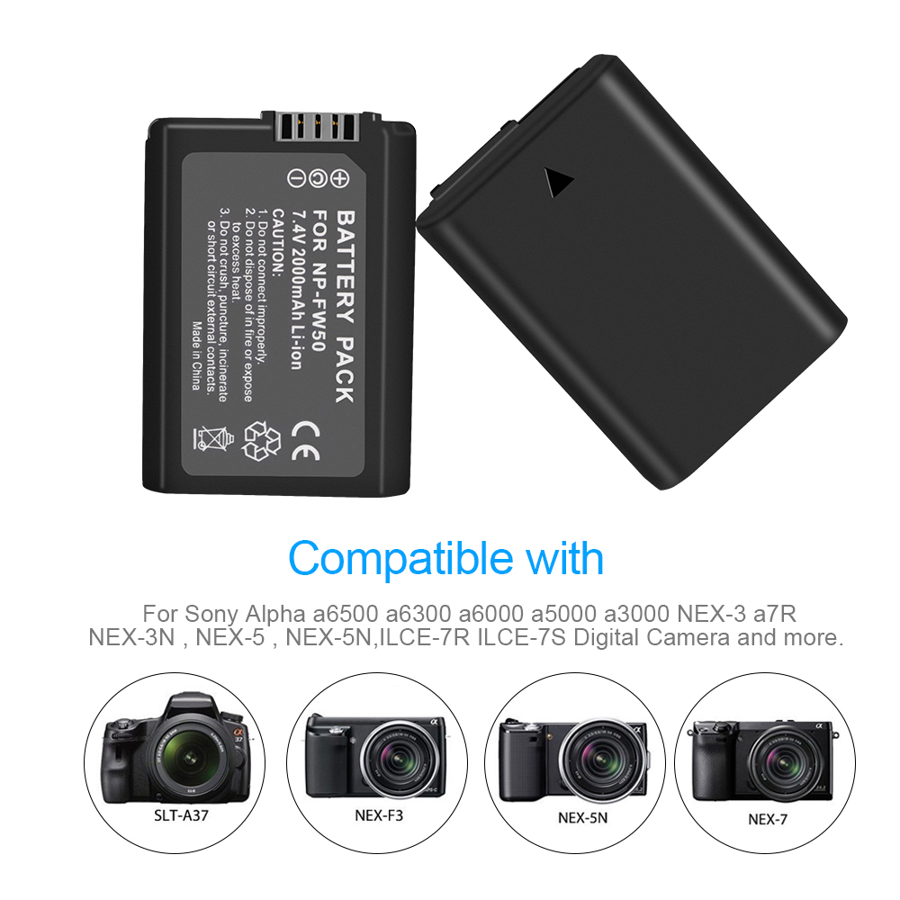 4 Pcs NP FW50 NP FW50 FW50 battery LCD dual USB charger for Sony A6000 5100 a3000 a35 A55 a7s II Alpha 55 Alpha 7 A72 A7R Nex7 in Digital Batteries from Consumer Electronics