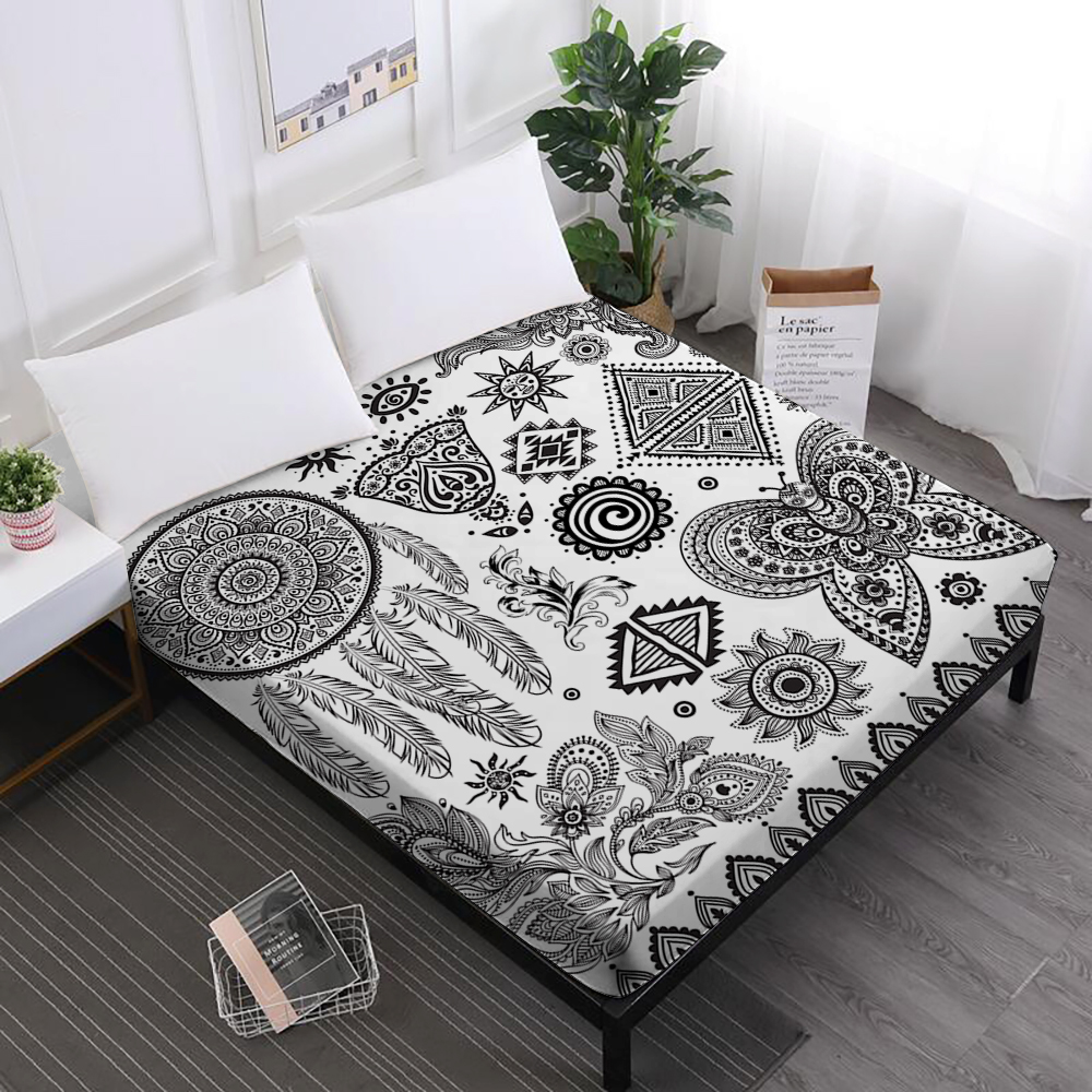 Luxury Bed Sheets Mandala Print Fitted Sheet Dreamcatcher Hamsa Hand Print Mattress Cover Bohemia Style Fitted