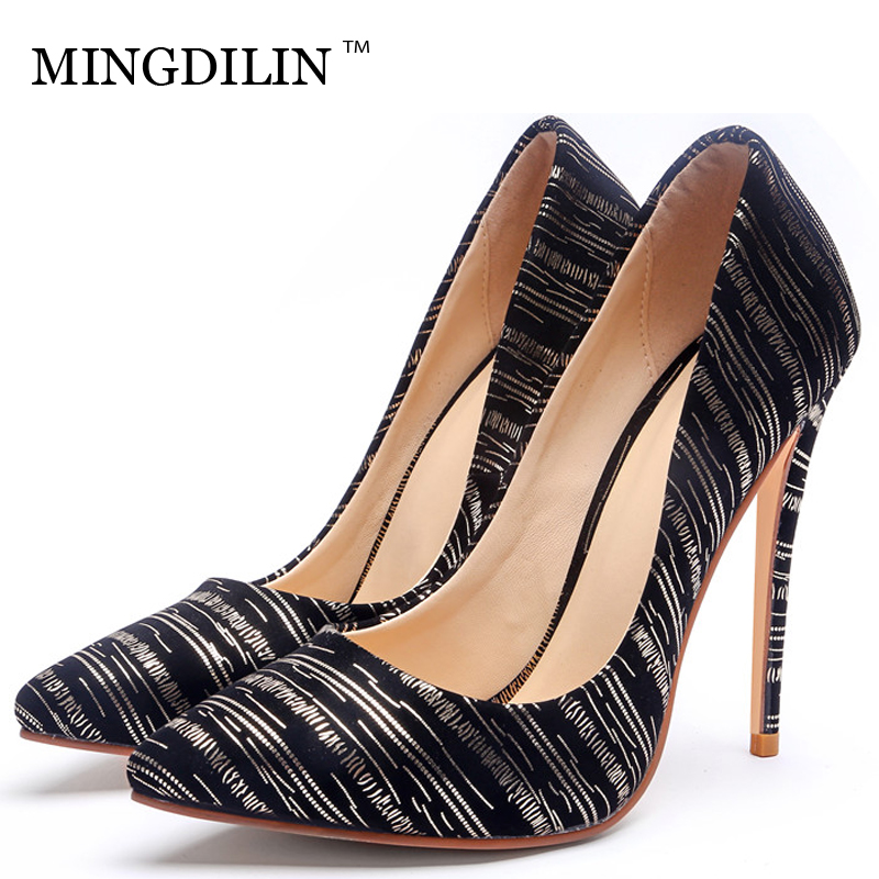 MINGDILIN Golden Silver Women's High Heels Shoes Wedding Party Woman Heel Shoes Plus Size 33 43 Pointed Toe Sexy Pumps Stiletto mingdilin sexy women s heel shoes high heels shoes woman pumps plus size 33 43 pointed toe ping red wedding party pumps stiletto