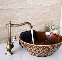 Оптовая продажа ретро античная латунь готовые кран смесители бортике роскошный внешний вид с фарфор torneira banheiro AF1072