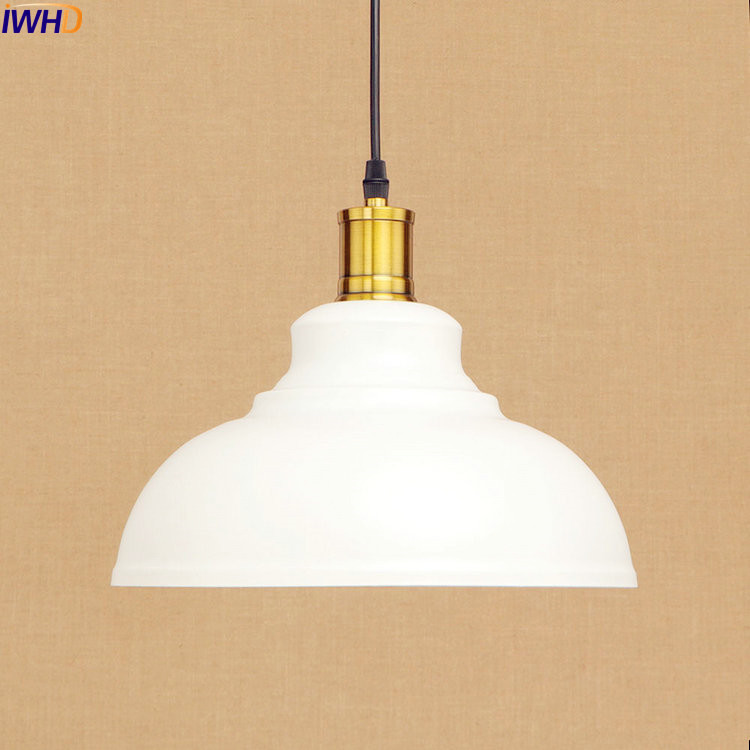 IWHD White Edison Vintage Pendant Lights Fixtures Nordic Style Loft Industrial Pendant Lamp Hanging Light Luminaire edison loft style vintage light industrial retro pendant lamp light e27 iron restaurant bar counter hanging chandeliers lamp