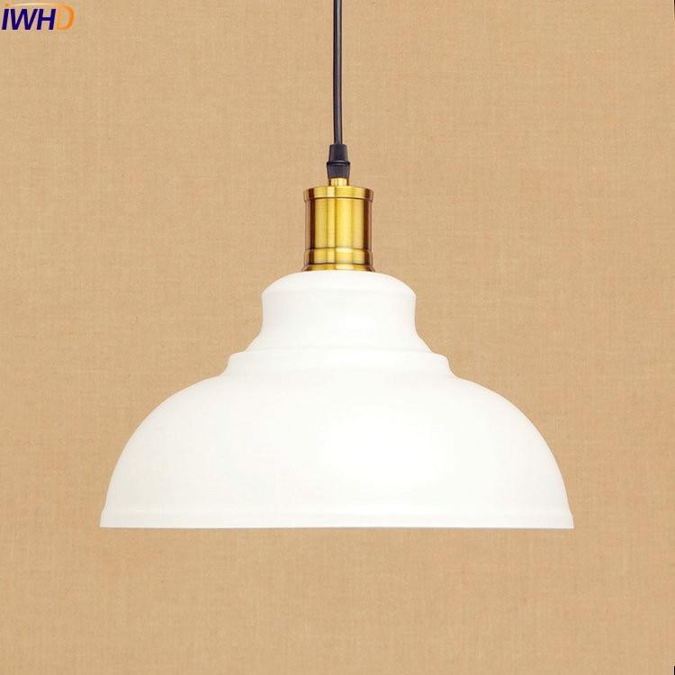 IWHD White Edison Vintage Pendant Lights Fixtures Nordic Style Loft Industrial Pendant Lamp Hanging Light Luminaire iwhd loft style creative retro wheels droplight edison industrial vintage pendant light fixtures iron led hanging lamp lighting