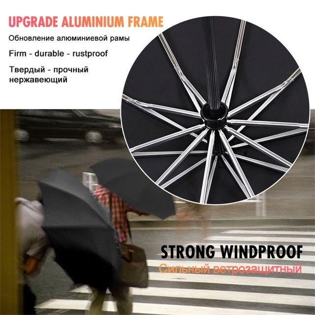 125CM Windproof Automatic Umbrella For Men Brand Large Folding Umbrella Rain Woman Double Golf Business Automatic Car Umbrellas 2
