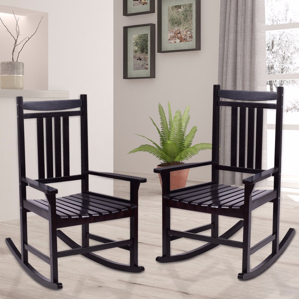 Giantex Set of 2 Wood Rocking Chair Porch Rocker Indoor Outdoor Patio Furniture Black Living Room Furniture HW56207 ...