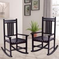 Giantex Set of 2 Wood Rocking Chair Porch Rocker Indoor Outdoor Patio Furniture Black Living Room Furniture HW56207