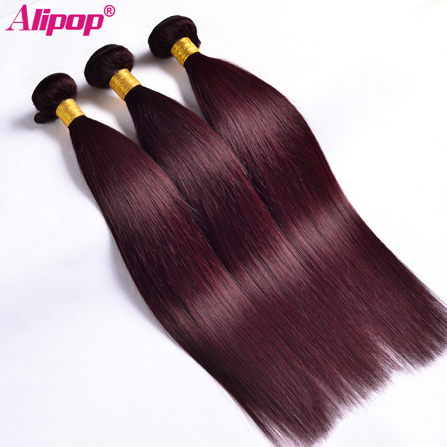 ALIPOP Burgund Peruvian Straight Hair Bundles Human Hair Bundles 3PC - Menneskehår (sort) - Foto 1