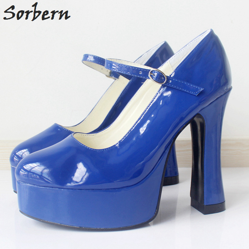 Sorbern Mary Janes Round Toe Platform 4 High Heels Women Pumps Square Chunky Heeled Ladies Shoes Size 42 Gothic Shoes Large цена