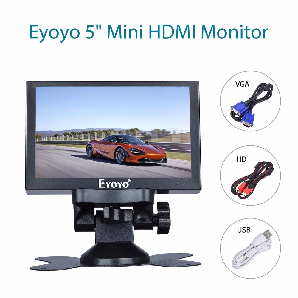 Eyoyo 5 inch Mini HDMI Monitor 800x480 Car Rear View TFT LCD Screen Display With BNC/VGA/AV/HDMI Output Built-in Speaker escam t10 10 inch tft lcd remote color video monitor screen with vga hdmi av bnc usb for pc cctv home security system camera