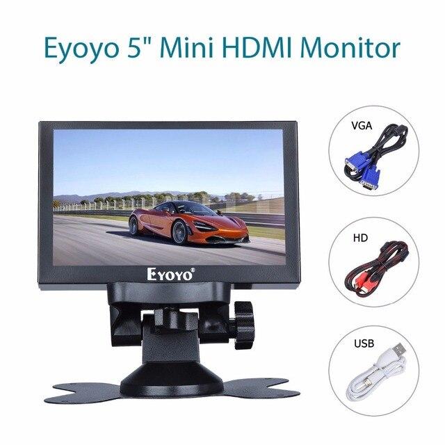 Eyoyo 5 polegada mini monitor hdmi 800x480 vista traseira do carro tft lcd tela de exibição com bnc/vga/av/hdmi saída built in alto falante