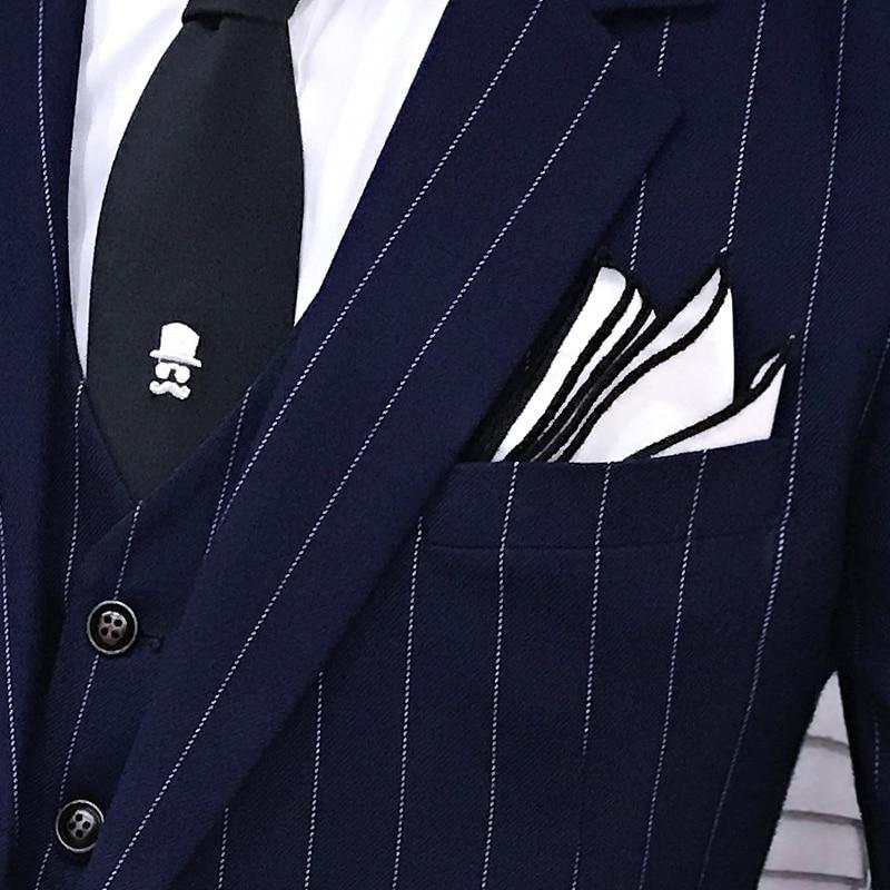 marine vestes Marié Costume Boutique À breasted Mens Marque De Mode hommes Costumes Haut Formelle Gamme Pantalon Gilet Double Bleu Noir Rayures D'affaires pPTwSrqpR