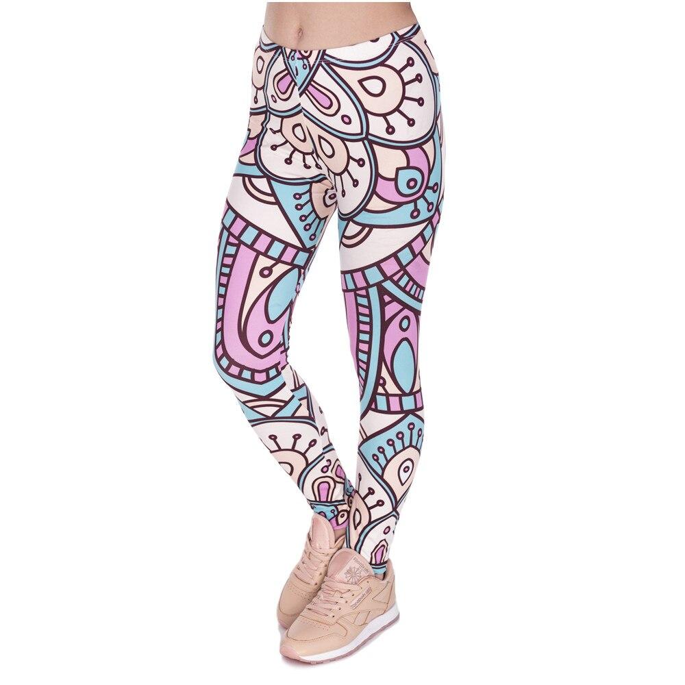New Design Women Legins Mandala Turquoise And Pink Printing Legging Fashion High Waist Woman Leggings