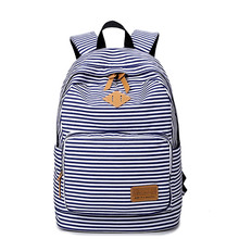 Preppy Bagpack Female Canvas Striped Printing Backpack Women Computer Back Pack Lady School Bags for Teenagers