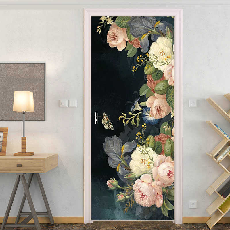 European Retro Oil Painting Rose Wall Paper Door Sticker For Living Room Bedroom PVC Self-adhesive Door Mural Creative 3D Decals
