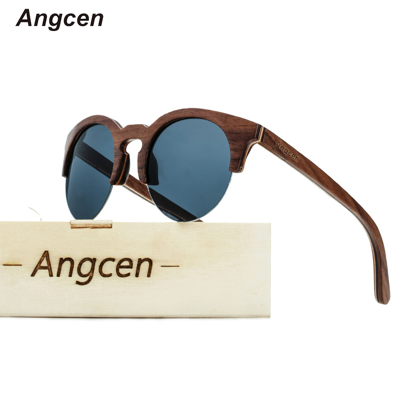 Angcen Fashion Half Frame Glasses 100 Natural Wood Sunglasses Polarized Men and Woman Handmade vintage Semi