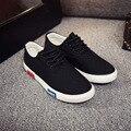 Мужчины осень зашнуровать холст мужская обувь низкие верхние плоские случайные черные белые туфли