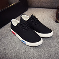 men fall lace up canvas men shoes low top flat casual black white shoes