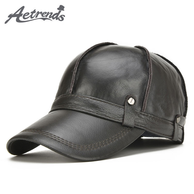 [AETRENDS] 2017 New 100% Leather Baseball Cap Mens