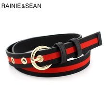 RAINIE SEAN Belt For Trousers Women Canvas Waist Striped Pin Buckle Red White Blue Patchwork Casual Belts 110cm