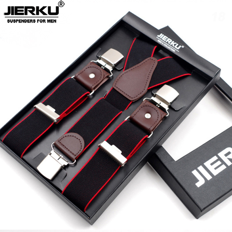 JIERKU Genuine Leather Suspenders Man's Braces 3Clips Suspensorio Fashion Trousers Strap Father/Husband's Gift 3.5*120cm JK3C02